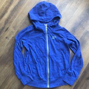 Nike girls blue zip up hoodie Sz L